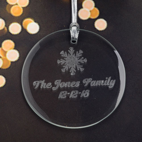 Personalized Engraving Snowflake Round Glass Ornament