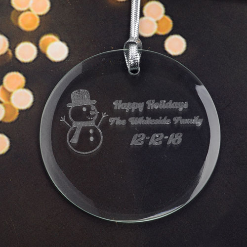 Personalized Engraving Snowman Round Glass Ornament