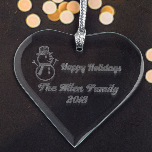 Personalized Engraved Snowman Heart Shaped Ornament