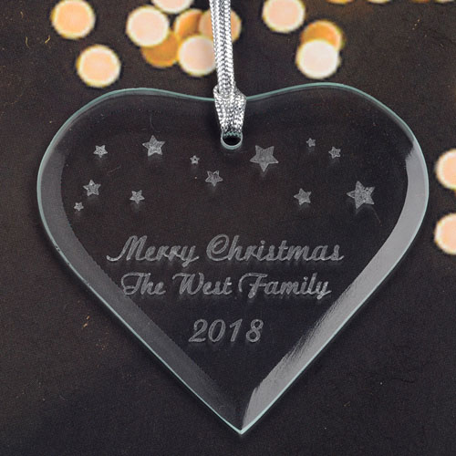 Personalized Engraved Stars Heart Shaped Ornament