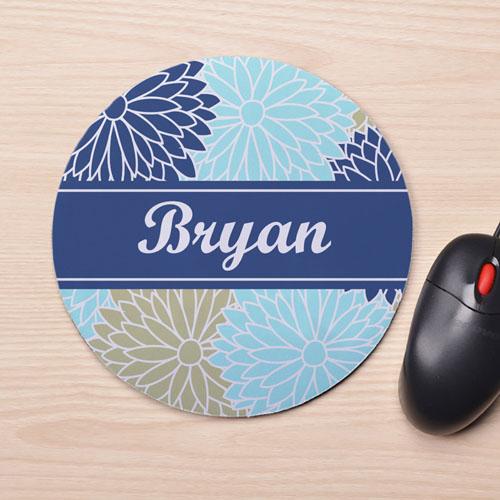 Custom Printed Blue Floral Design Mouse Pad
