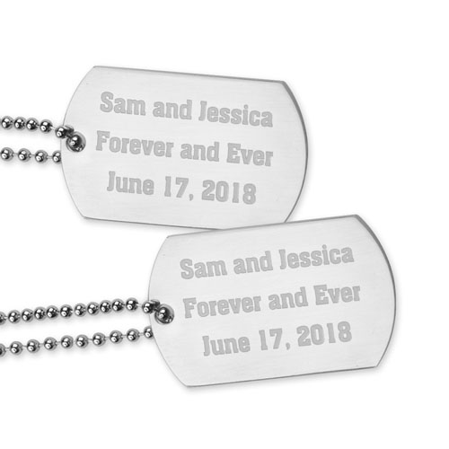 Engraved Love Message Dog Tag Pendant