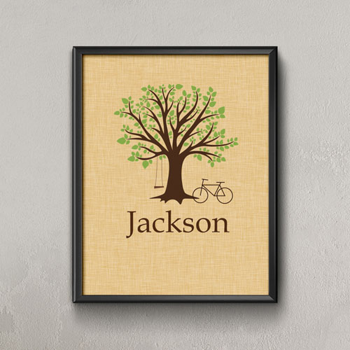 Family Oak Tree With Bike & Swing Personalized Poster Print, Small 8.5