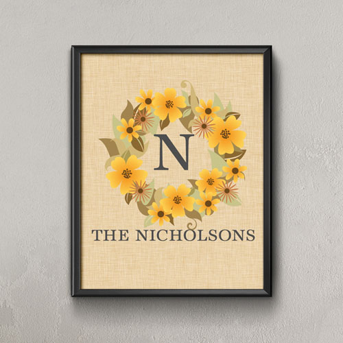 Linen Wreath Personalized Poster Print, Small 8.5