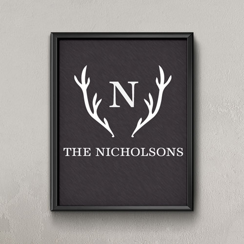 Black Floral Antlers Personalized Poster Print, Small 8.5