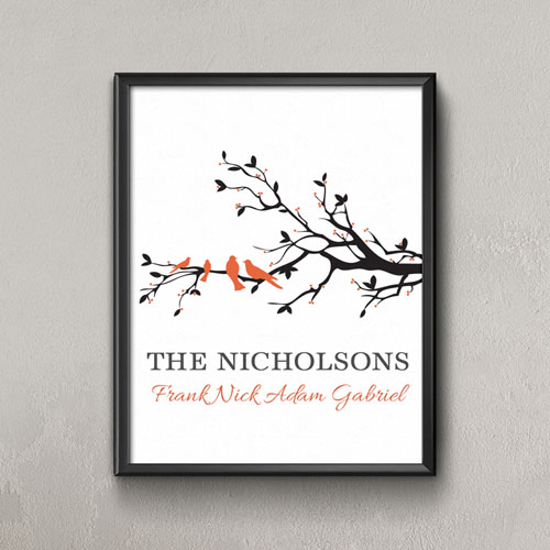 Family Tree Four Orange Birds Personalized Poster Print, Small 8.5