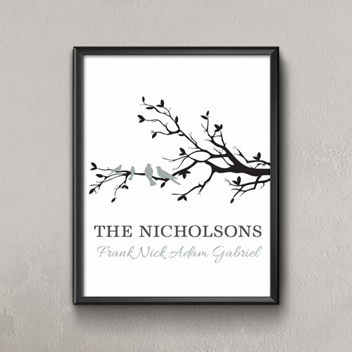 Family Tree Four Grey Birds Personalized Poster Print, Small 8.5