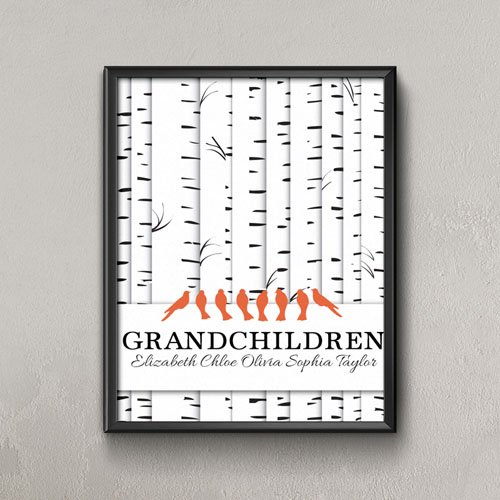 Family Tree Eight Orange Birds Personalized Poster Print, Small 8.5
