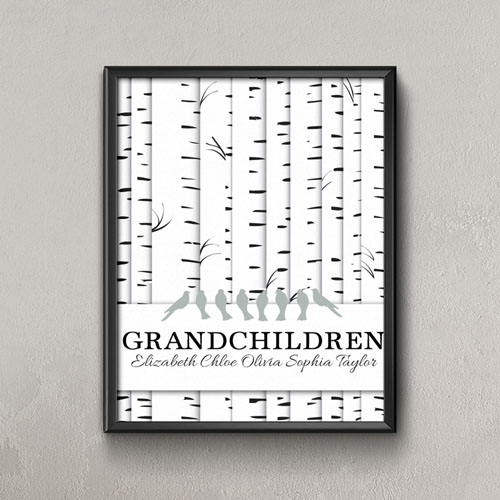 Family Tree Eight Grey Birds Personalized Poster Print, Small 8.5