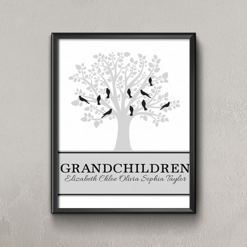 Family Tree Ten Grey Birds Personalized Poster Print