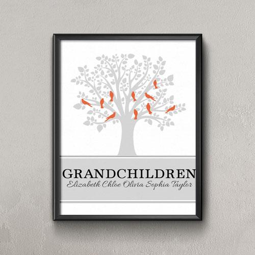 Family Tree Ten Orange Birds Personalized Poster Print