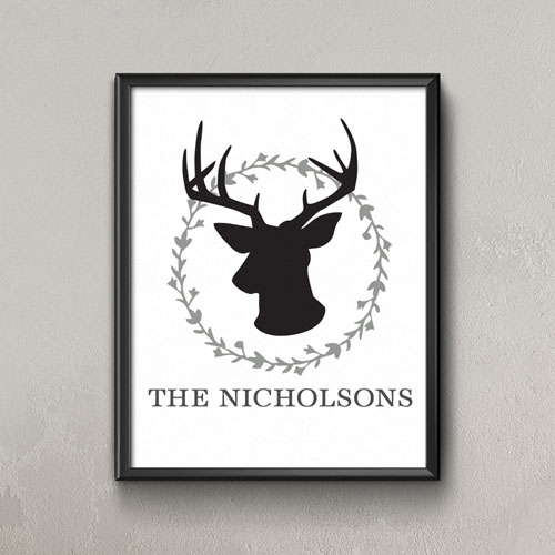 Grey Deer Personalized Poster Print, Small 8.5