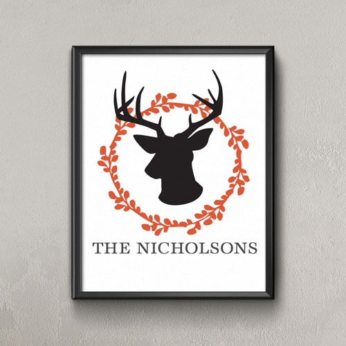 Orange Deer Personalized Poster Print, Small 8.5