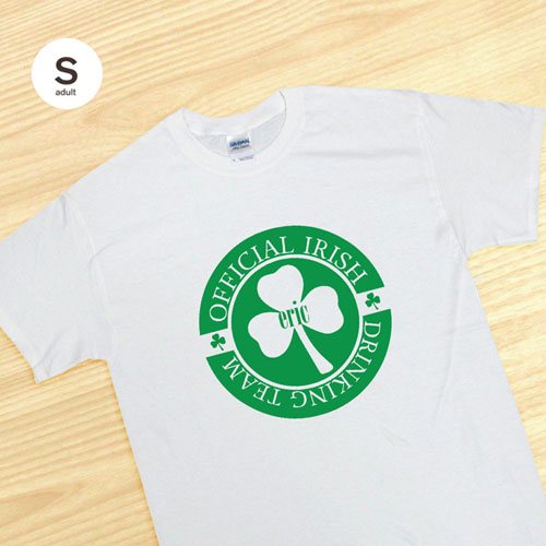 Personalized Official Irish Drinking Team, White T Shirt