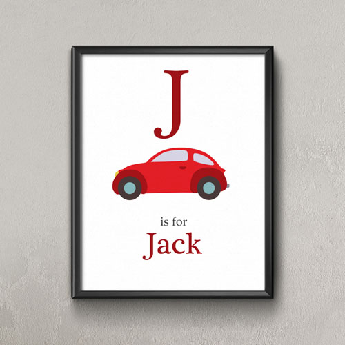Car Personalized Poster Print For Kids, Small 8.5