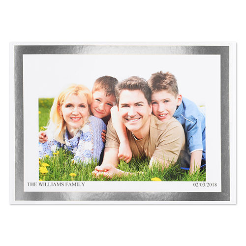 Create Your Own Silver Foil Frame Personalized Photo Card 5x7