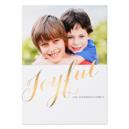 Create Your Own Joyful Personalized Photo Foil Card Gold