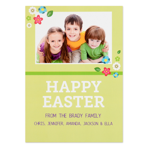 Create Your Own Easter Little Flowers Personalized Photo Card 5X7