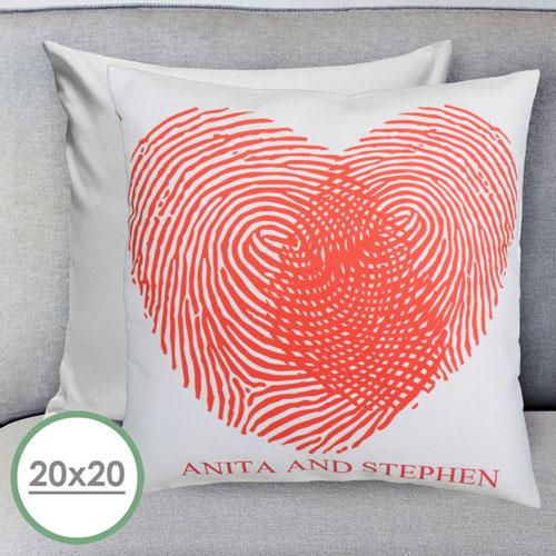 Heart Fingerprint Personalized Large Pillow Cushion Cover 20