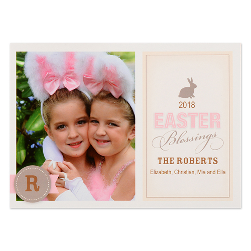 create your own bunny blessing personalized photo easter card small