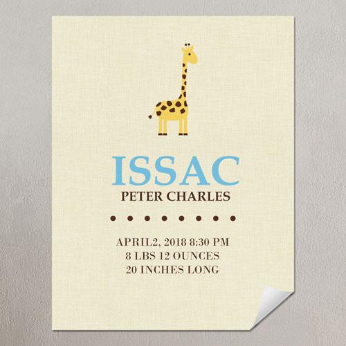 Giraffe Boy Personalized Poster Print, 8.5x11