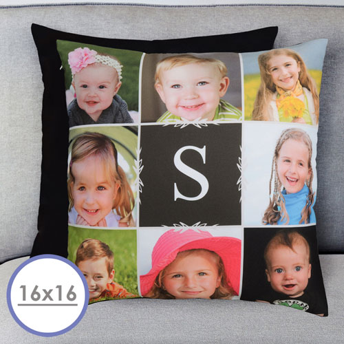16 X 16 Monogrammed Photo Collage Personalized Pillow  Cushion (No Insert)
