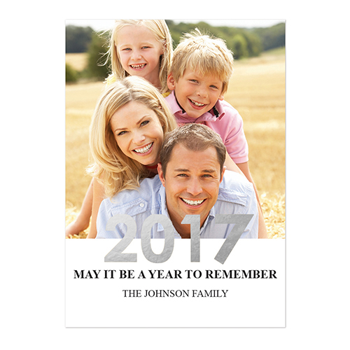 create your own foil silver personalized photo new year card card invites view