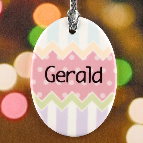 Chocolate Dots Chevron Personalized Easter Egg Ceramic Ornament