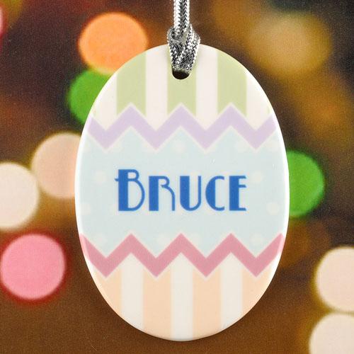 Blue Dots Chevron Personalized Easter Egg Ceramic Ornament