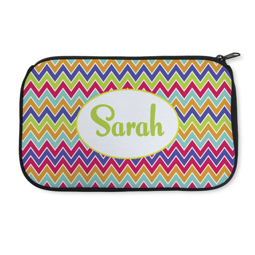Personalized Neoprene Colorful Chevron Cosmetic Bag (6 X 10 Inch)