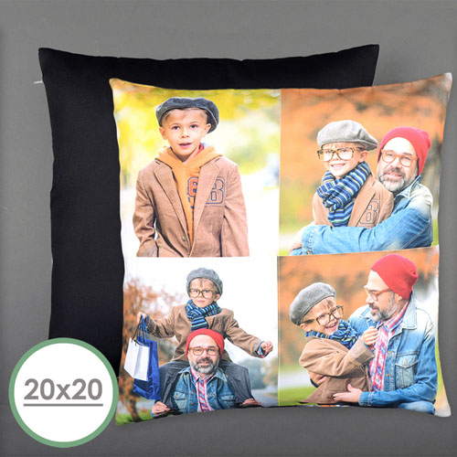 Four Collage Photo Personalized Pillow 20 Inch  Cushion (No Insert)