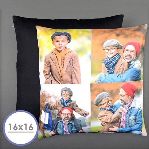 Four Collage Photo Personalized Pillow 16 Inch  Cushion (No Insert)