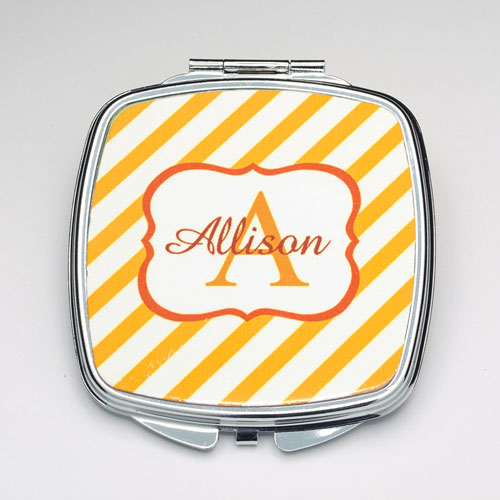 Personalized Orange Stripe Compact Make Up Mirror