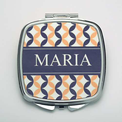 Personalized Navy & Pink Compact Make Up Mirror