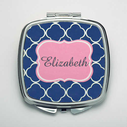 Personalized Navy Quatrefoil Compact Make Up Mirror