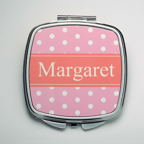 Personalized Pink Polka Dot Compact Make Up Mirror
