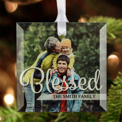 Blessed Personalized Photo Glass Ornament Square 3