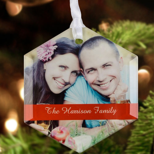 New Year Personalized Photo Glass Ornament Hexagon 3