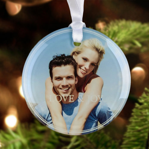 Love & Joy Personalized Photo Glass Ornament Round 3