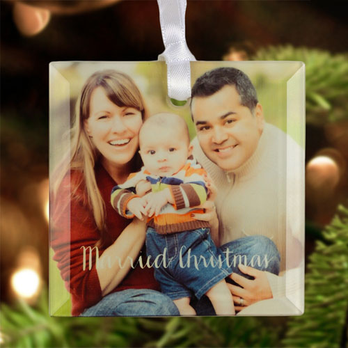 Married Christmas Personalized Photo Glass Ornament Square 3
