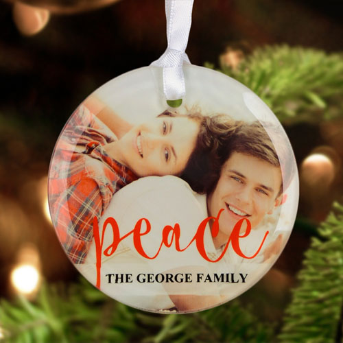 Peace Personalized Photo Glass Ornament Round 3