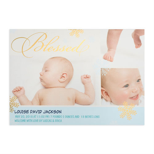 Create Your Own Blessed Gold Foil Personalized Photo Boy Birth Announcement, 5X7 Card Invites