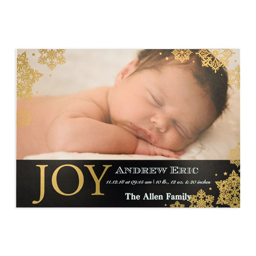 create your own joy foil gold personalized photo birth announcement 5x7 card invites