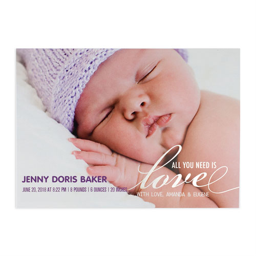 create your own all you need is love foil silver birth announcement 5x7 card invites