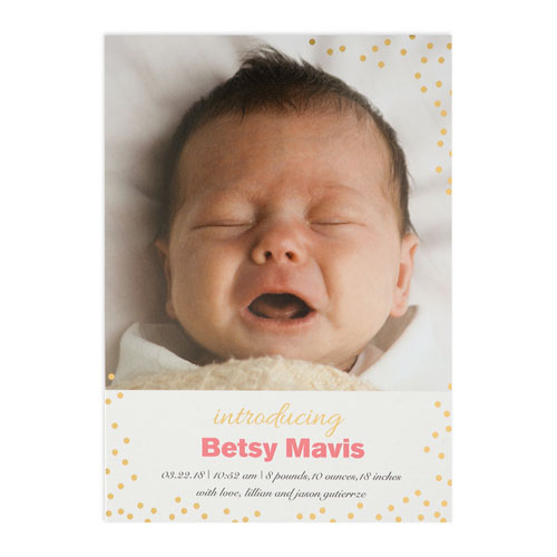 create your own introducing foil gold personalized birth announcement 5x7 card invites