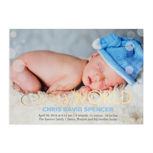 create your own hello world foil gold personalized photo birth announcement 5x7 card invites