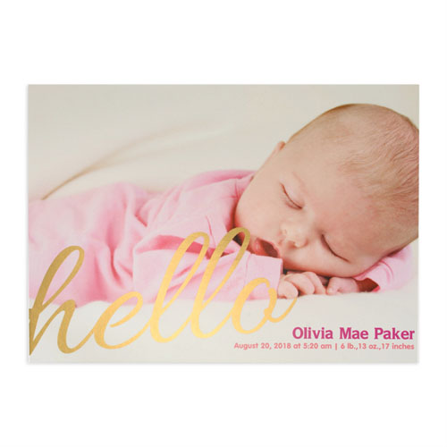 create your own say hello foil gold personalized photo birth announcement 5x7 card invites