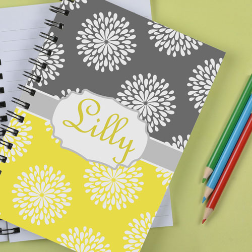 Personalized Lemon Grey Floral Notebook