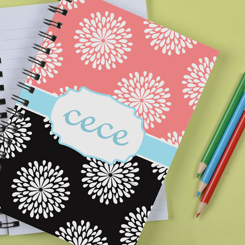 Personalized Black Pink Floral Notebook