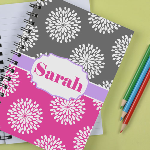 Personalized Pink Grey Floral Notebook